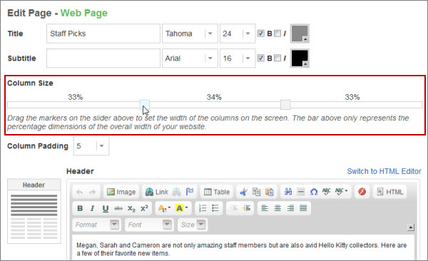 Website support blog new feature 15 new web page layouts for Html table column padding
